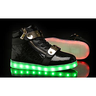 Damen Schuhe Tüll Stoff Frühling Herbst Komfort Leuchtende LED-Schuhe Sneakers Walking Flacher Absatz LED für Sportlich Normal Weiß
