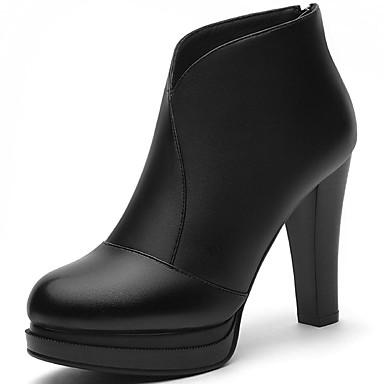 Dame-Syntetisk-Tykk hælStøvler-Kontor og arbeid Fritid-Svart Rød