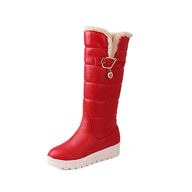 Støvler-PU-Komfort Modestøvler-Dame-Sort Rød Hvid-Fritid-Flad hæl