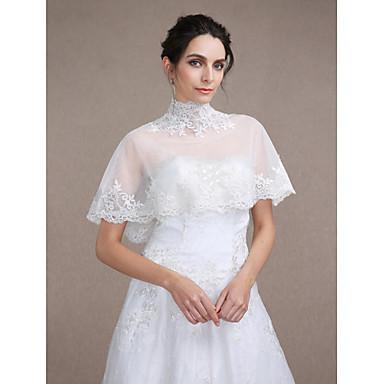 Ermeløs Tyll Bryllup Fest & Aften Avslappet Sjal til kvinner With Appliqué Capelets