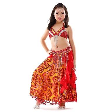 Dança do Ventre Roupa Crianças Actuação Chiffon 3 Peças Sem Mangas Caído Blusa Saia Cinto