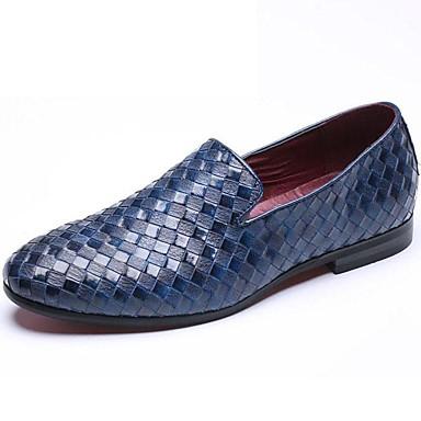 Hombre Sintético Primavera / Verano / Otoño Confort Zapatos de taco bajo y Slip-On Blanco / Negro / Azul / Talón de bloque