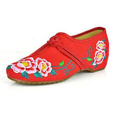 Dame Sko Kanvas Forår Sommer Komfort Mary Jane broderede sko Fladsko Gang Flade hæle Spænde Blomst for Afslappet Sort Rød