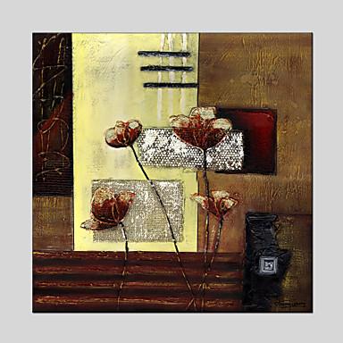 Pintados à mão Floral/Botânico Pinturas a óleo,Modern 1 Painel Tela Hang-painted pintura a óleo For Decoração para casa