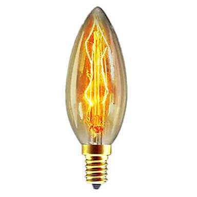 1pc 40W E14 C35 Blanco Cálido 2300k Retro / Regulable / Decorativa Bombilla incandescente Vintage Edison 220-240V