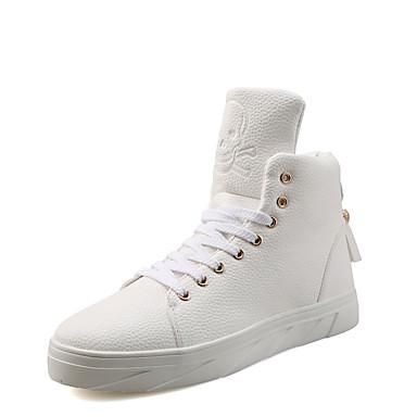 Herrn Schuhe PU Frühling Herbst Komfort Sneakers Schnürsenkel für Normal Weiß Schwarz Rot