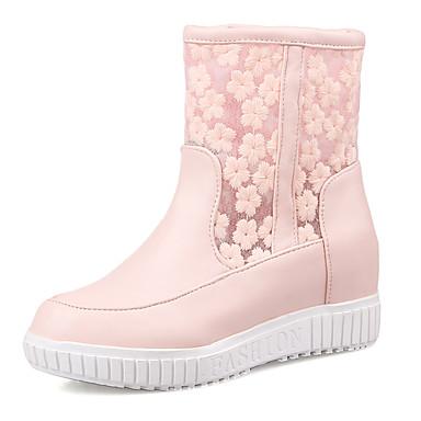 レディース 靴 レザーレット 秋 冬 ブーツ プラットフォーム ブーティー/アンクルブーツ 用途 カジュアル ドレスシューズ ホワイト ピンク