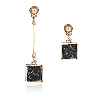 Nieuwe ontwerp mode lange oorbellen 18k vergulde natuursteen vierkante asymmetrische oorbellen vrouwenfeest sieraden