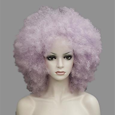 Synteettiset hiukset Peruukit Afro Kinky Curly Suojuksettomat Cosplay-peruukki Violetti