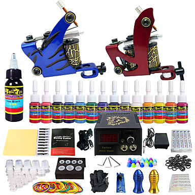 Tattoo Machine Starter Kit - 2 pcs Tattoo Machines with 14 x 5 ml tattoo inks, Professional LCD power supply Case Not Included 2 alloy machine liner & shader