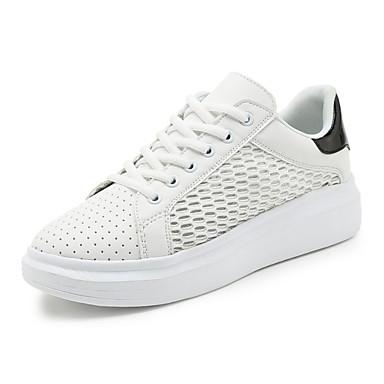 Sneakers-Tyl-Komfort-Dame-Sølv-Fritid-Kilehæl