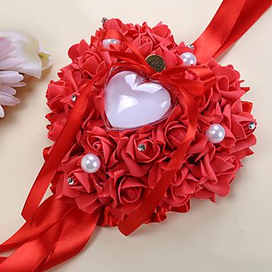 Pajarita / Perlado Artificial / Cintas Satén Almohada de Anillo Tema Asiático / Tema Floral / Tema Clásico Primavera / Verano / Otoño