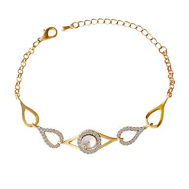 Dame Piger´ Kæde & Lænkearmbånd Mode Inspirerende Rhinsten Imitation Diamond Legering Oval form Gylden Smykker For Fest Daglig 1 Stk.