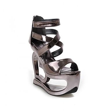 Feminino Sapatos Courino Verão Sandálias Plataforma Salto Plataforma Dedo Aberto para Casual Prata Cinza Escuro