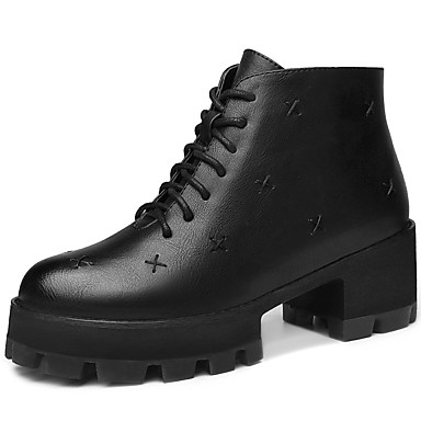 Støvler-PU-Komfort / Rund tå / Modestøvler-Dame-Sort / Khaki-Kontor / Formelt / Hverdag-Tyk hæl
