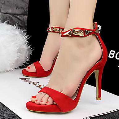 Feminino-Sandálias-Plataforma Básica-Salto Agulha-Prata Cinzento Vermelho Rosa claro Dourado-Courino-Festas & Noite