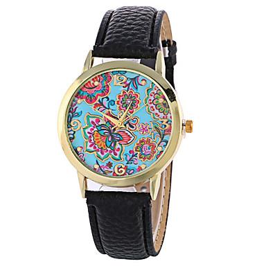 Mulheres Relógio de Pulso Relógio Elegante Relógio de Moda Quartzo / PU Banda Flor Preta Branco Vermelho Marrom Verde
