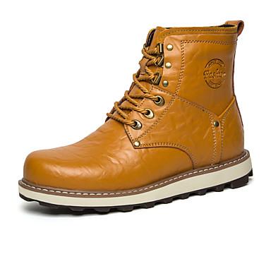 メンズ 靴 レザー 冬 春 秋 ファッションブーツ ブーツ 編み上げ のために カジュアル ブラック ダークブルー イエロー Brown