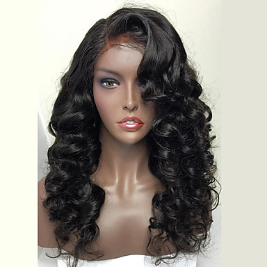 Echthaar Spitzeperücke Wellen Vollspitze 100 % von Hand geknüpft Afro-amerikanische Perücke Natürlicher Haaransatz Dichte Rabenschwarz