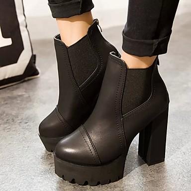 Feminino Sapatos Couro Ecológico Outono Inverno Botas Salto Robusto Salto de bloco Para Social Preto Marron