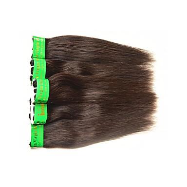 baratos Extensões de Cabelo Natural-Cabelo Indiano Liso 10A Cabelo Natural Remy Cabelo Humano Ondulado Tramas de cabelo humano Extensões de cabelo humano / Reto