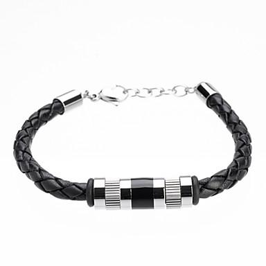 Heren Lederen armbanden Modieus Eenvoudige Stijl Leder Titanium Staal Buisvorm Sieraden Kerstcadeaus Feest Dagelijks Causaal Sport
