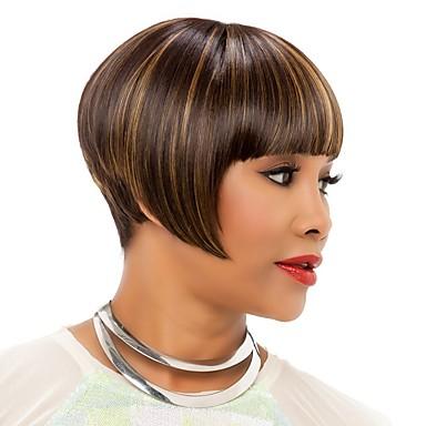 Vrouw Synthetische pruiken Zonder kap Recht Kinky Recht Donker Bruin Natuurlijke haarlijn Afro-Amerikaanse pruik Voor donkere huidskleur