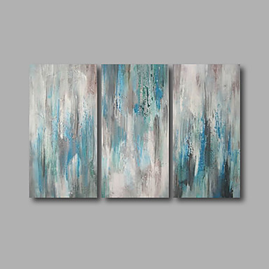 Handgeschilderde Abstract Horizontaal, Modern Kangas Hang-geschilderd olieverfschilderij Huisdecoratie Drie panelen