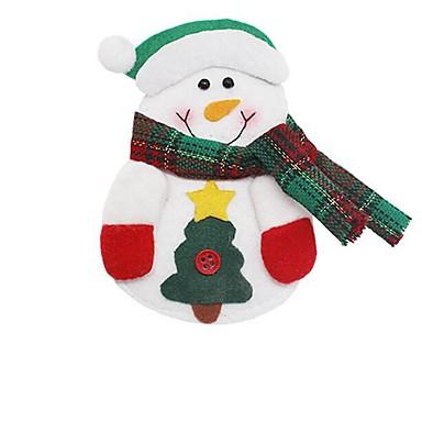 Kerstmis de Kerstman sneeuwpop elanden mes vork zak vaatwerk diner bestek decor