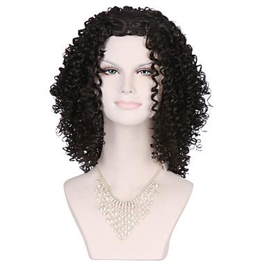 Kostymeparykker / Syntetiske parykker Kinky Curly Brun Lokkløs Svart Parykk Syntetisk hår