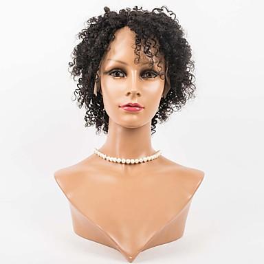 Echt haar Kanten Voorkant Pruik Los golvend 130% Dichtheid 100% handgebonden Afro-Amerikaanse pruik Natuurlijke haarlijn Kort Medium Dames