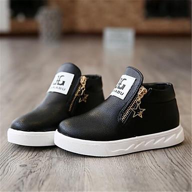 Para Meninas sapatos Couro Outono Conforto Botas Caminhada Cadarço Para Casual Preto Vermelho