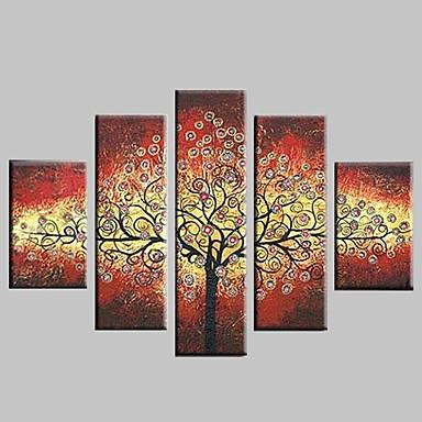 Handgeschilderde Abstract / Landschap / Fantasie / Abstracte landschappen Vijf panelen Canvas Hang-geschilderd olieverfschilderij For