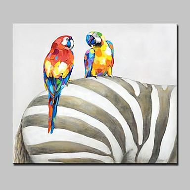 Handgeschilderde Abstract Dieren POP Horizontaal,Modern Eén paneel Canvas Hang-geschilderd olieverfschilderij For Huisdecoratie