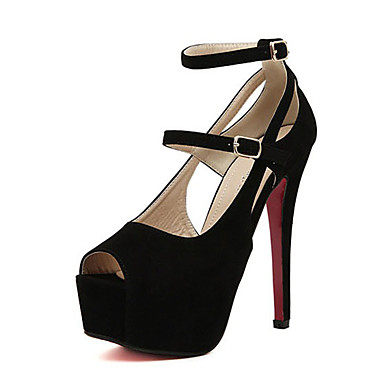 Dames Sandalen Fleece Zomer Causaal Stilettohak Zwart Roze 12 cm en hoger