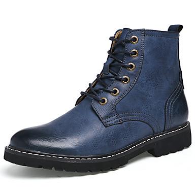 Heren Schoenen Leer Lente Zomer Herfst Winter Enkellaarsjes Modieuze laarzen Laarzen Veters Voor Causaal Grijs Bruin Blauw