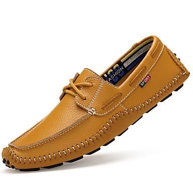 Heren Schoenen Leer Lente Herfst Duikschoenen Comfortabel Bootschoenen voor Causaal Wit Zwart Geel Blauw