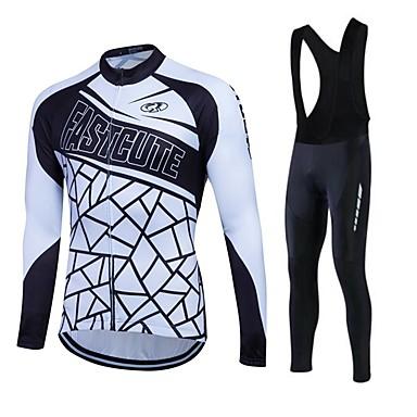 Fastcute Homens Mulheres Manga Longa Camisa com Calça Bretelle Moto Tights Bib Meia-calça Camisa/Roupas Para Esporte Calças Conjuntos de