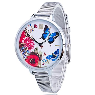 Damen Quartz Armbanduhr Mehrfarbig Edelstahl Band Charme Blume Freizeit Schmetterling Leopard Kleideruhr Modisch Gold