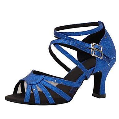 Feminino Latina Salsa Glitter Sandália Salto Interior Apresentação Fivela Com Glitter Salto Personalizado Azul 1
