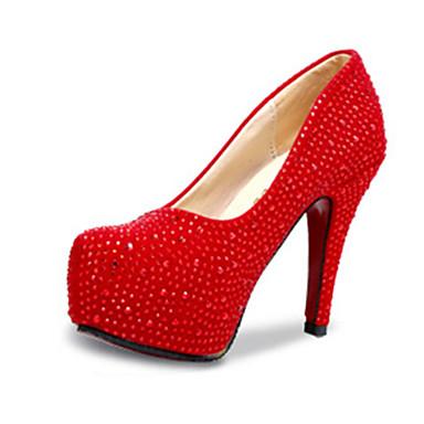 Damen Schuhe PU Sommer High Heels Stöckelabsatz Paillette Silber / Rot