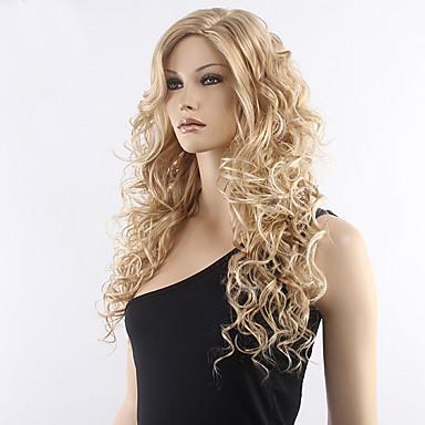 Dame Ret Syntetiske parykker Syntetisk hår Side del Carnival Paryk Halloween Paryk Naturlig paryk Lang Blond