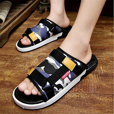 Homens sapatos PVC Verão Chinelos e flip-flops para Casual Azul Escuro Amarelo Azul