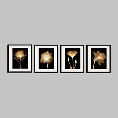 Floral/Botanic Pânză Înrămată / Set Înrămat Wall Art,PVC Material Negru Rogojină Inclusă cu Frame For Pagina de decorare cadru Art
