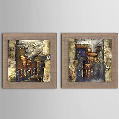 Handgeschilderde Abstract / Landschap / Fantasie / Bloemenmotief/Botanisch Olie schilderijen,Modern / Realisme / Europese StijlTwee