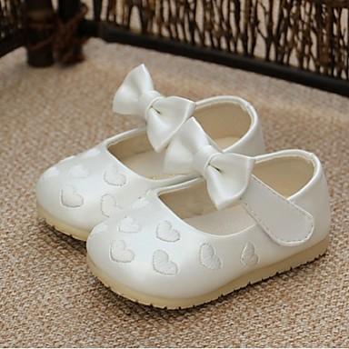 Meisjes Baby Schoenen PU Lente Herfst Platte schoenen Strik voor Causaal Wit Roze