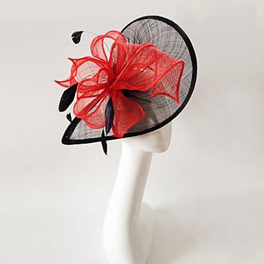 voordelige Feestaccessoires-vlas veer tovenaars hoofddeksel elegante klassieke vrouwelijke stijl