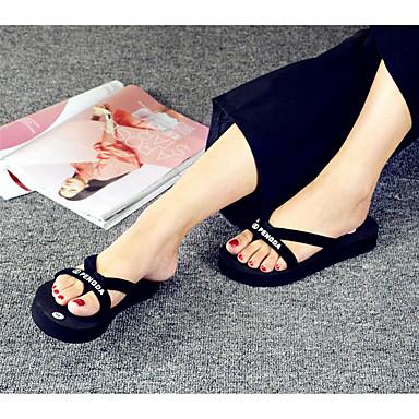 Dames Slippers & Flip-Flops Comfortabel Lente Zomer Maatwerkmaterialen Causaal Platte hak Zwart zwart/wit Plat