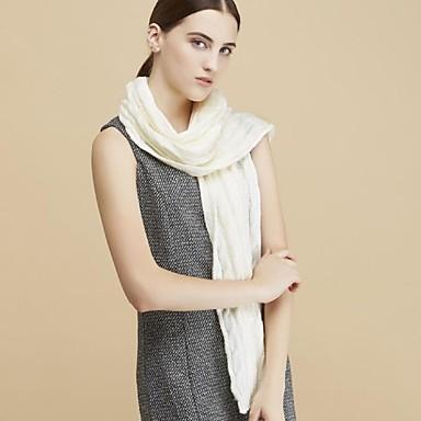 Damer Casual Uld Halstørklæde-Ensfarvet Rektangulær Hvid