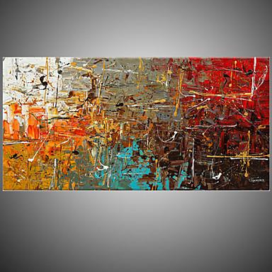 Pintada a mano Abstracto Horizontal,Estilo europeo Un Panel Lienzos Pintura al óleo pintada a colgar For Decoración hogareña